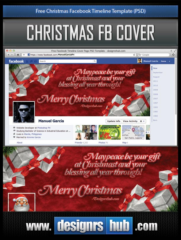 Free Christmas Facebook Timeline Template Psd
