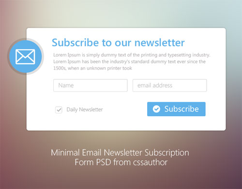 20 Free Newsletter Subscription Form Templates Psd