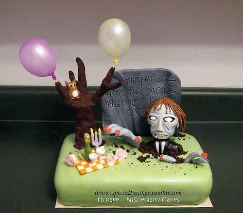 Peachy Halloween Decorating Ideas 20 Zombie Cake Designs Personalised Birthday Cards Veneteletsinfo