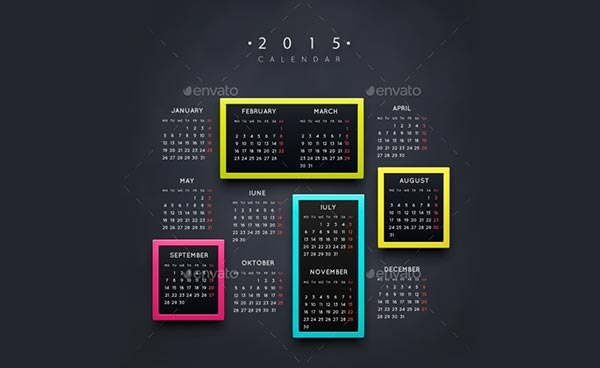 Year 2015 Calendar Vector Templates In Different Designs